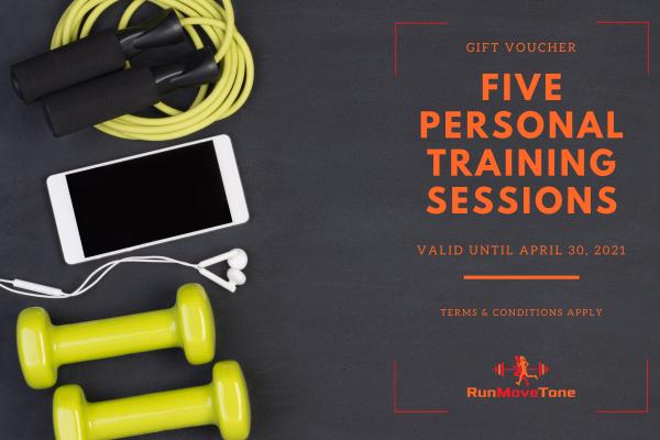 RunMoveTone 5 Personal Training Sessions Gift Voucher