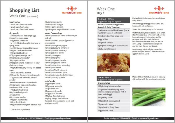 Meal PLan For Weight Loss Example